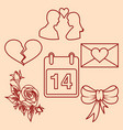 set valentines day design line elements vector image