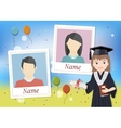 Yearbook with graduate schoolgirl and two photos vector image