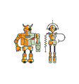 pair of colorful funny cartoon robots isolated on vector image