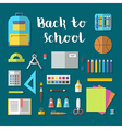 Back to school flat design modern icon set vector image