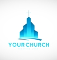 Blue church christian cross logo icon design vector image