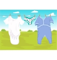 clothes drying outdoor in the garden vector image