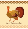 Colorful turkey on yellow background vector image