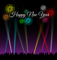 Happy new year text on city night with spotlights vector image