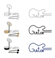 set of guitar and drum logos vector image