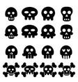 skull icon set vector image