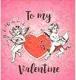 Vintage hand drawn Valentine card with two cupids vector image