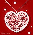 Openwork heart applique paper on red background vector image vector image