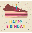 happy birthday cake candle with confetti vector image