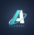 Letter A blue white logo icon design vector image