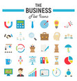 Business flat icon set finance symbols collection vector image