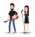 young woman singer and man guitar player vector image
