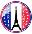 Paris and Eiffel tower button vector image