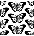 Graphic butterfly black and white seamless pattern vector image vector image