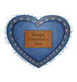 Jeans heart blue vector image