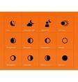 Moon eclipse icons on orange background vector image