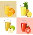 Set of fresh juices Realistic transparent glasses vector image