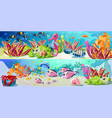 cartoon marine underwater life horizontal banners vector image