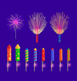 colourful firework rockets on blue background vector image