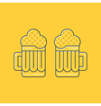 Foamy beer mugs linear icon vector image