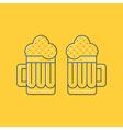 Foamy beer mugs linear icon vector image