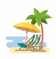 lounge on beach under a palm tree vector image