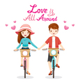 Man And Woman Riding Bicycle Clasping Hands vector image