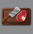 Realistic wooden cutting board meat and knife vector image