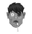 zombie head icon monochrome vector image