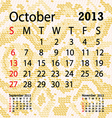 october 2013 calendar albino snake skin vector image vector image