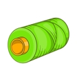 Green bobbin of thread icon cartoon style vector image