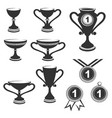 trophy cups icon set vector image