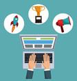 hand working computer digital marketing vector image