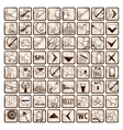Sepia set of 64 stylish hotel icons vector image vector image