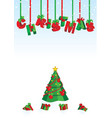 3d christmas text red and green on snow backdrop vector image