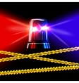 Police crime scene yellow tape and red with blue vector image