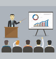 businessman gives a presentation or seminar vector image