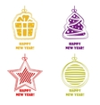 Collection icons Happy New Year and Christmas vector image