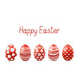 happy easter greeting card with realistic eggs vector image