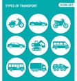 set of round icons white Types of transport vector image