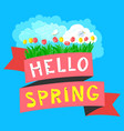 spring floral banner with tulips hello spring vector image