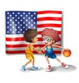 The USA flag and the two basketball players vector image