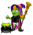 Witch Looking Unsure With Cauldron vector image