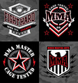 MMA mixed martial arts emblem badges vector image