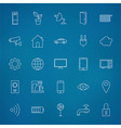 Internet of things Line Icons Set over Blurred vector image vector image