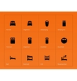 Bed crib and sleeping bed icons on orange vector image