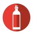bottle wine with red label shadow vector image