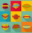 heraldic shield icons set flat style vector image