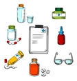 Prescription and medical objects icons vector image