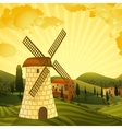 Rural landscape with a mill vector image